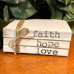 3 farmhouse inspired books stamped Faith hope love